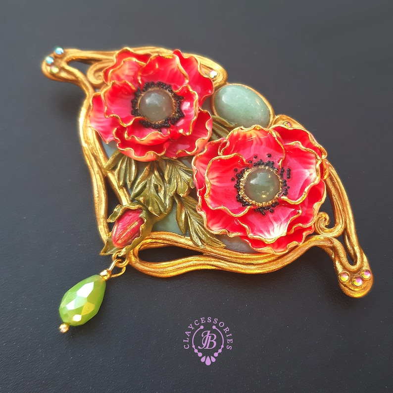 Poppy brooch in Art Nouveau style Statement floral vintage image 0