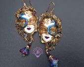 Peacock Venetian mask earrings     RESERVED! for Anne-Marie!!!