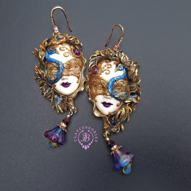 Peacock Venetian mask earrings     RESERVED for Anne-Marie image 1