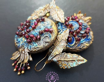 Pomegranate Garnet earrings, Pomegranate charm gift,  Botanical fruit statement earrings, Pomegranate jewelley