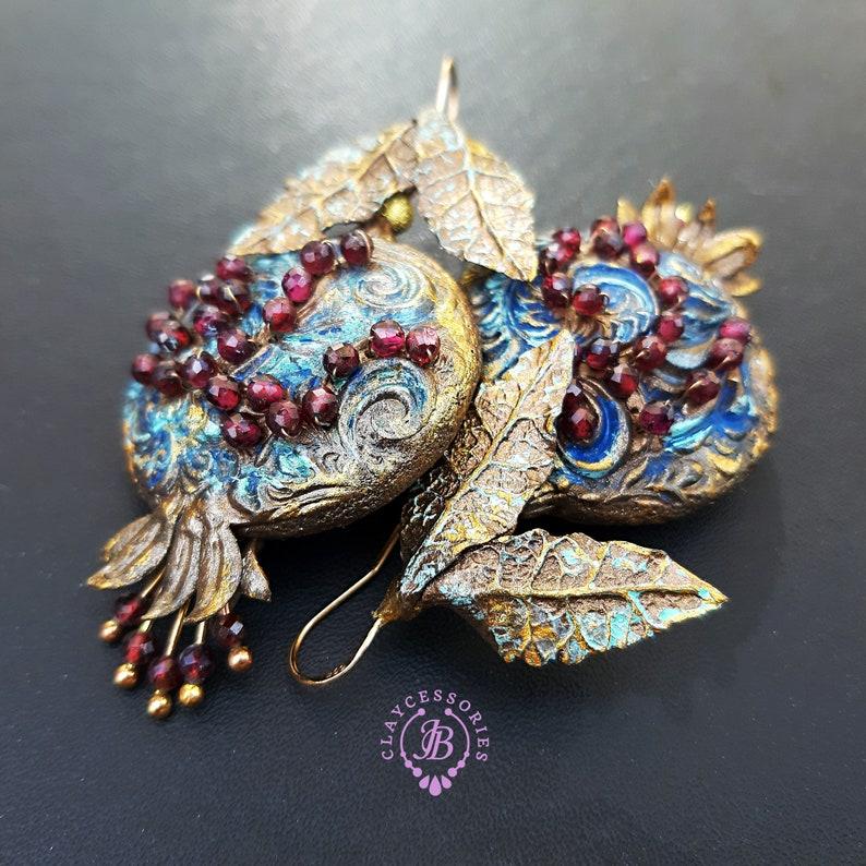 Pomegranate Garnet earrings Pomegranate charm gift image 0