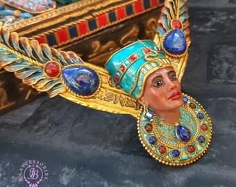 Egyptian Nefertiti and Scarab necklace, Ancient Amulet Symbol Talisman Sacred Mythology jewellery, Egyptian jewellery,  Protection gift
