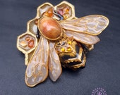 Bumblebee honeycomb amber brooch, Honeybee pin, Art Nouveau bee pin, Bee statement brooch, Bug Beetle brooch,Bee gift for her