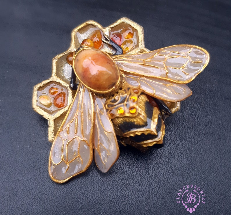 Bumblebee honeycomb amber brooch Honeybee pin Art Nouveau image 0