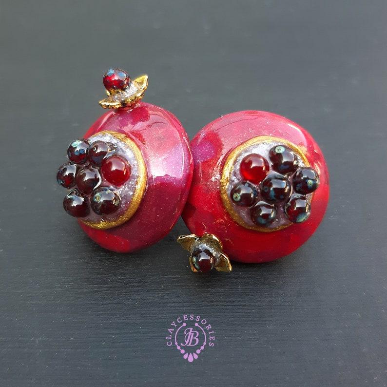 Pomegranate Garnet stud earrings Pomegranate charm gift image 0