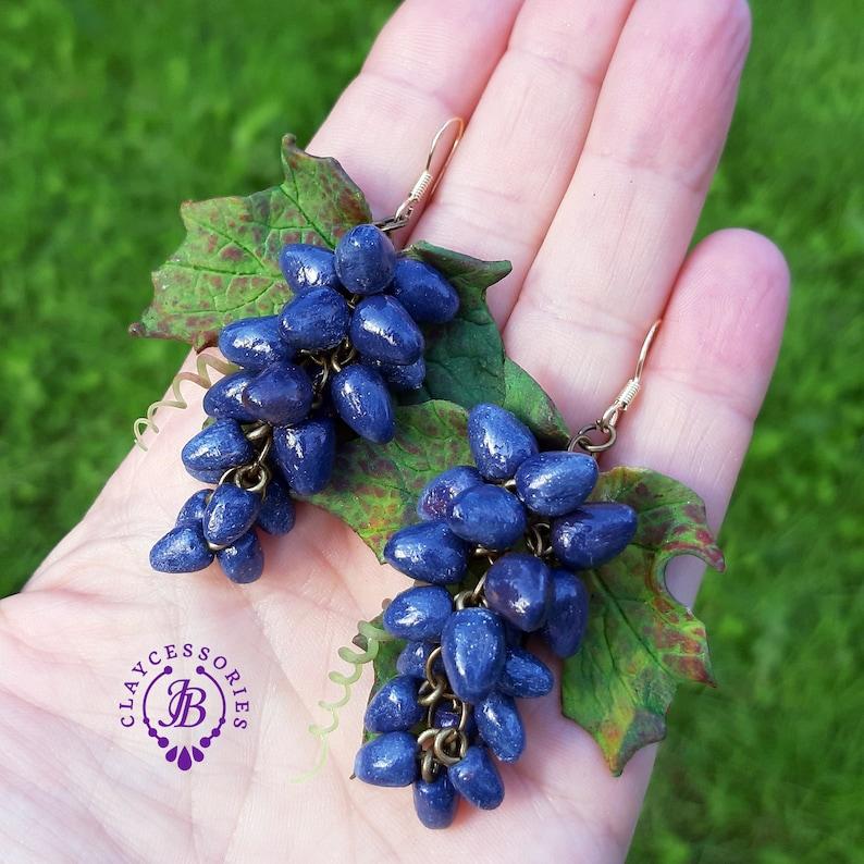 Fall fruits earringsGrapes earrings Autumn leaf earrings image 0