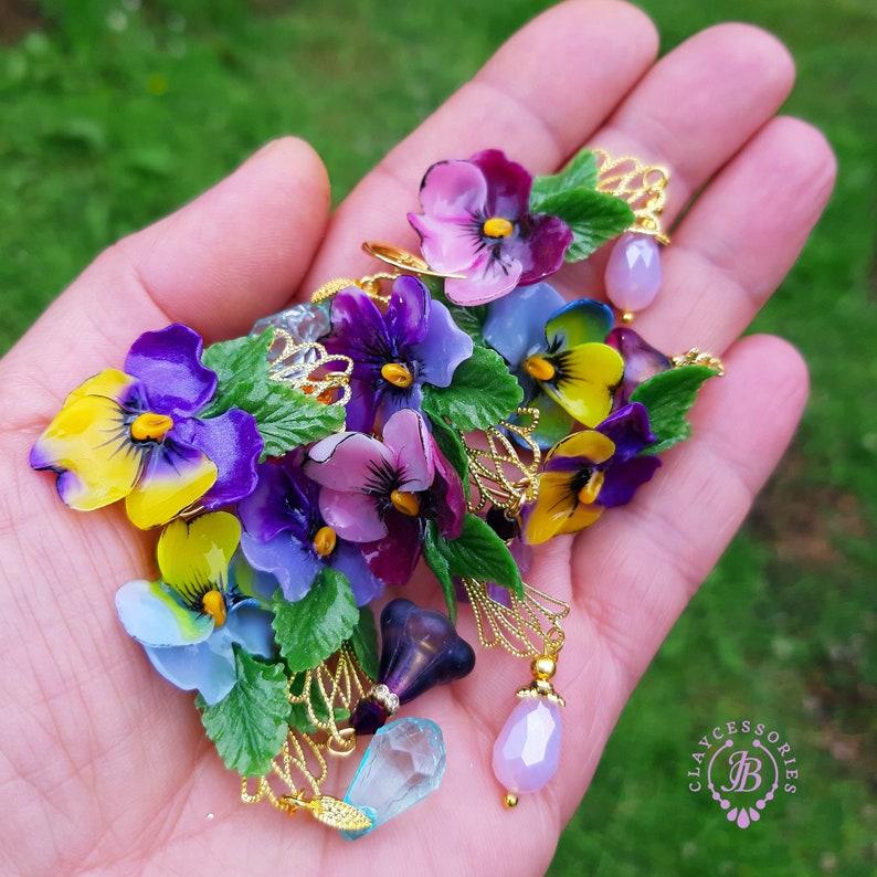 Pansies flowers earrings in Art Nouveau style Statement image 0