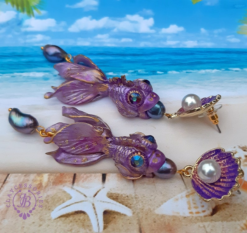 Purple Fish earrings Pisces earrings Art Nouveau pearl image 0
