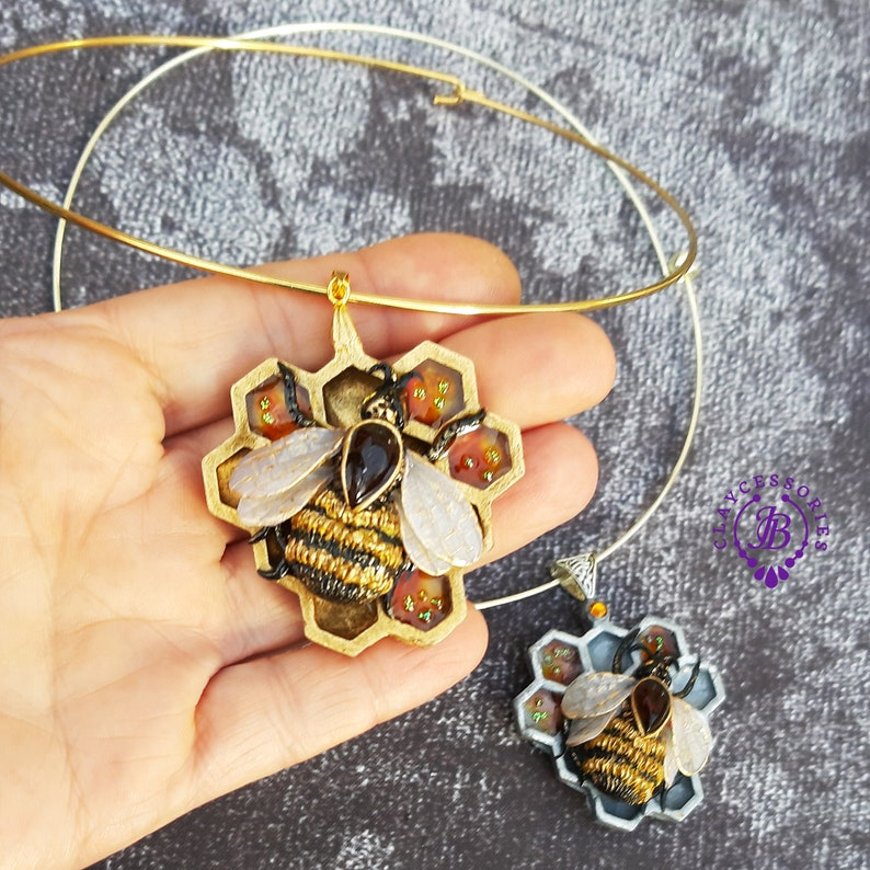 Bee choker necklace Honeycomb statement necklace Amber image 0