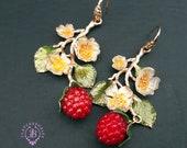 Raspberries Chandelier earrings in Art Nouveau style, Fruits summer statement earrings