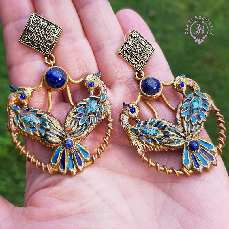 Peacock earrings in Art Nouveau style Peacock tail statement image 0
