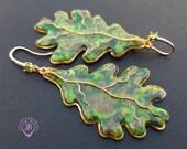Autumn oak leaves dangle earrings, Fall leaf Earrings, Nature inspired earrings