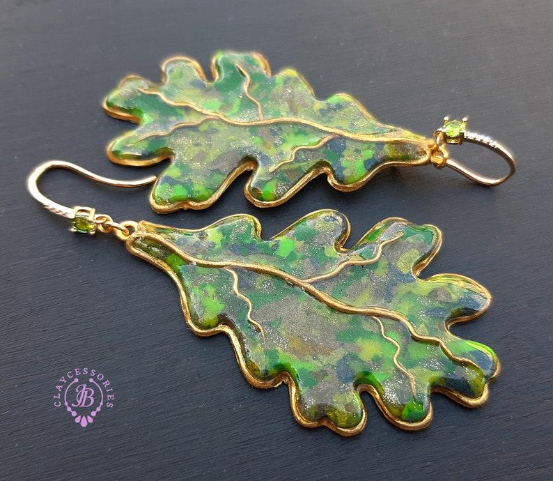 Autumn oak leaves dangle earrings Fall leaf Earrings Nature image 0