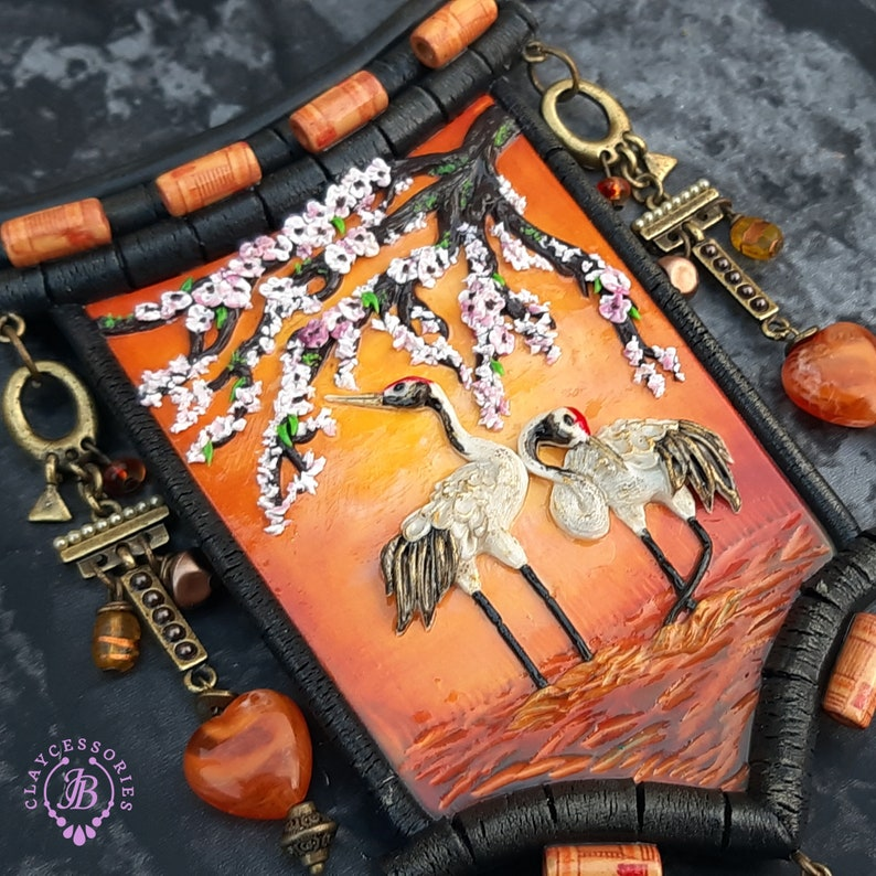 Oriental Crane statement necklace  Asian Crane necklace image 0