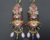 Venetian Mardi gras mask earrings