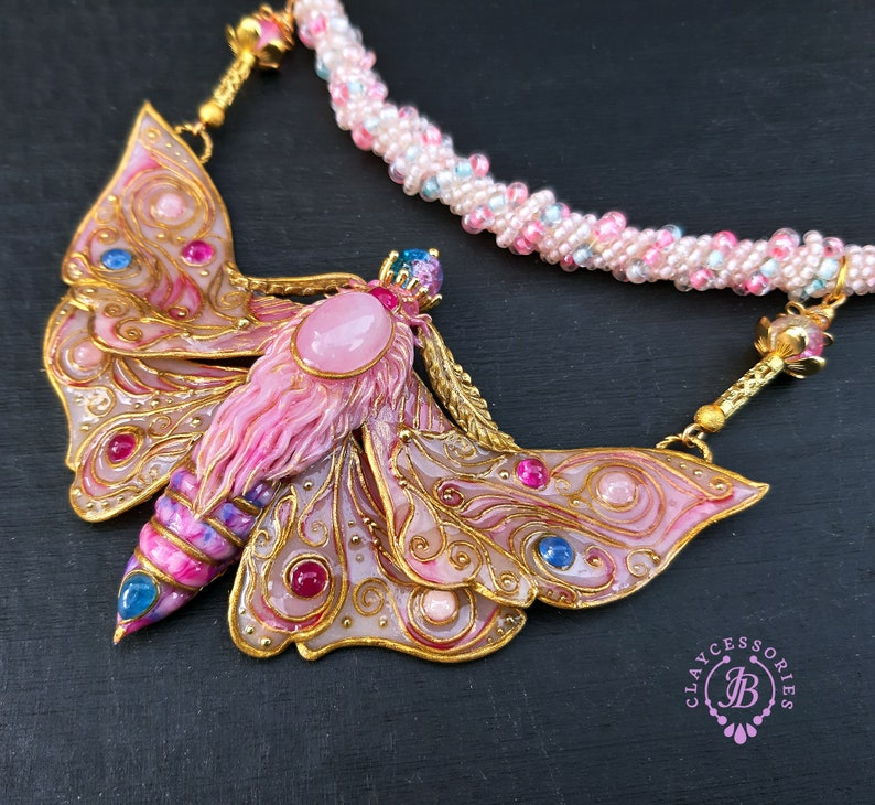 Pink Butterfly necklace in Art Nouveau style Statement purple image 0