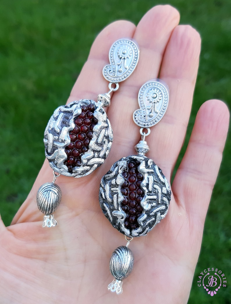 Pomegranate ethnic earrings Garnet Celtic earrings Oriental image 0