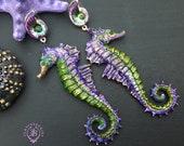 Seahorse summer earrings, Nautical nature earrings, Ocean earrings, Seahorse charm, Seahorse gift