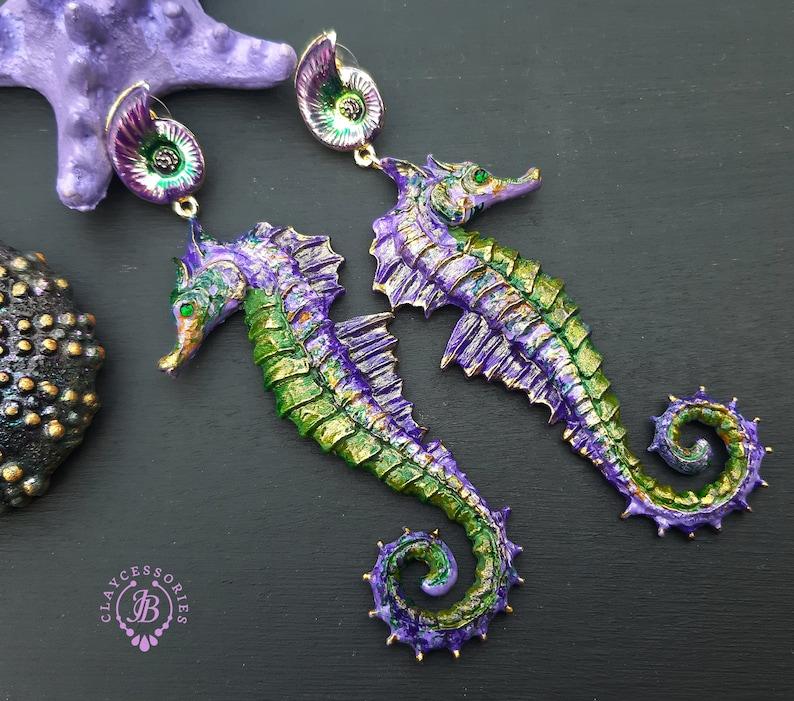 Seahorse summer earrings Nautical nature earrings Ocean image 0