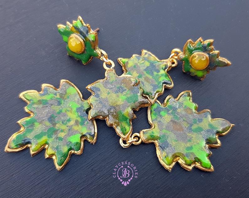 Maple Autumn dangle leaves earrings Fall Nature inspired image 0