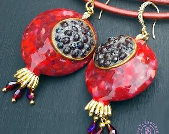 Pomegranate Garnet dangle earrings, Pomegranate charm gift, Botanical fruit statement earrings, Pomegranate jewelley
