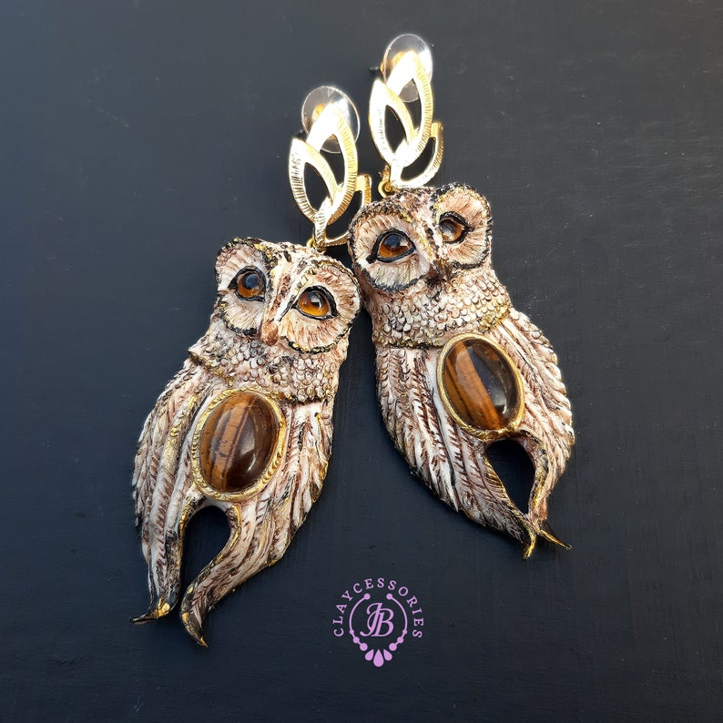 Owl statement earrings Bird earringsOwl jewellery Owl image 0
