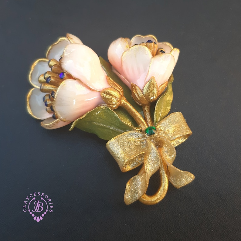 Floral brooch in Art Nouveau style Statement vintage style image 0