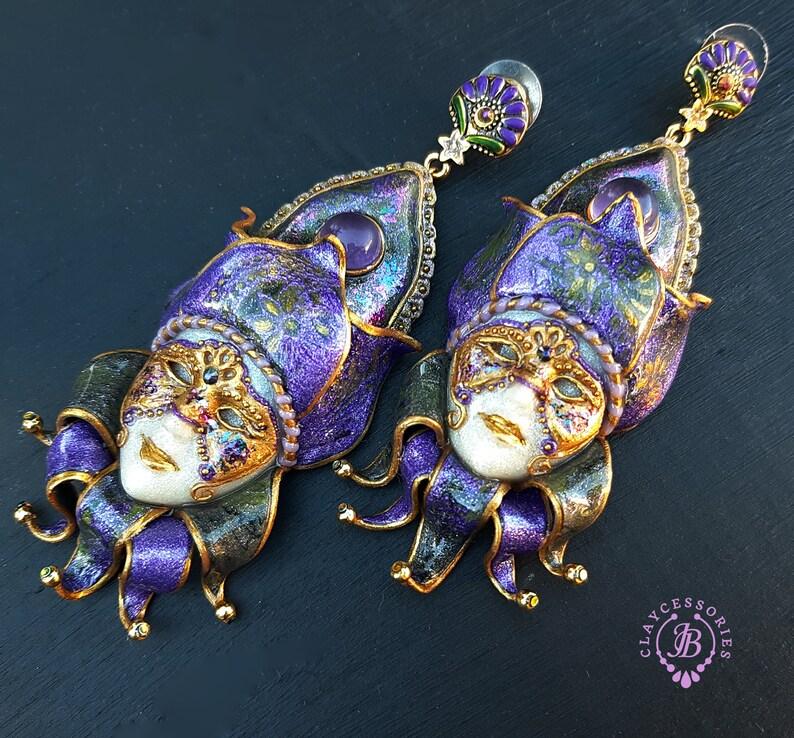 Harlequin Venetian masks earrings       RESERVED for image 1