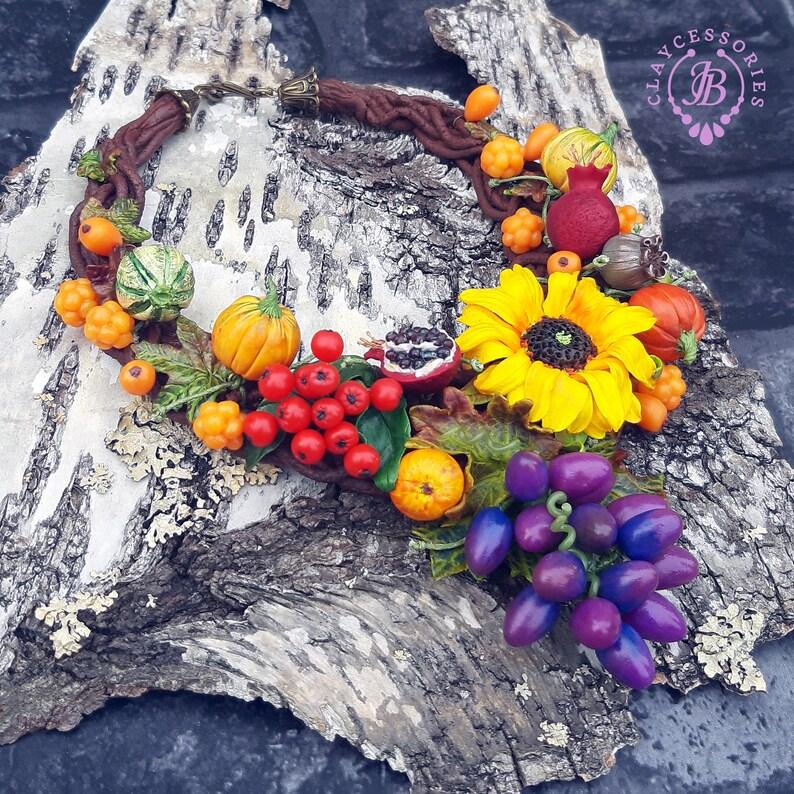 Autumn harvest rustic necklace Thanksgiving necklace Autumn image 0