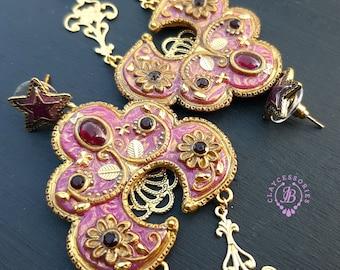 Filigree Chandelier Folk earrings, Russian traditional earrings