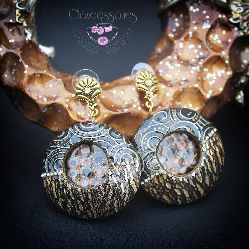 Klimt modern earrings Geometric earrings Circle black gold image 0