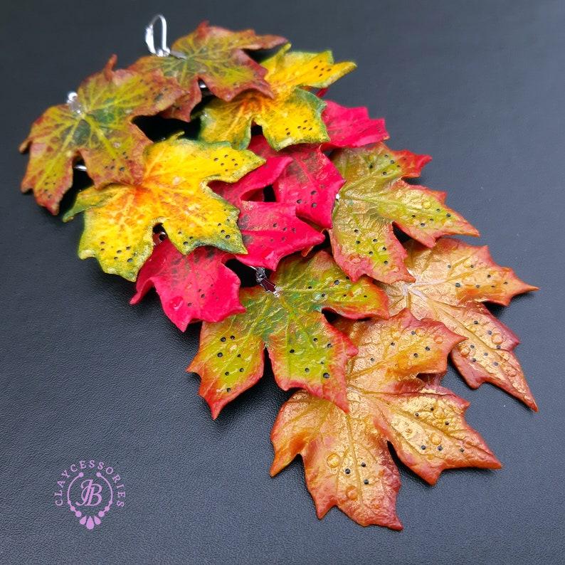 Autumn leaf earrings Fall earringsMaple leaf earringsLeaf image 0
