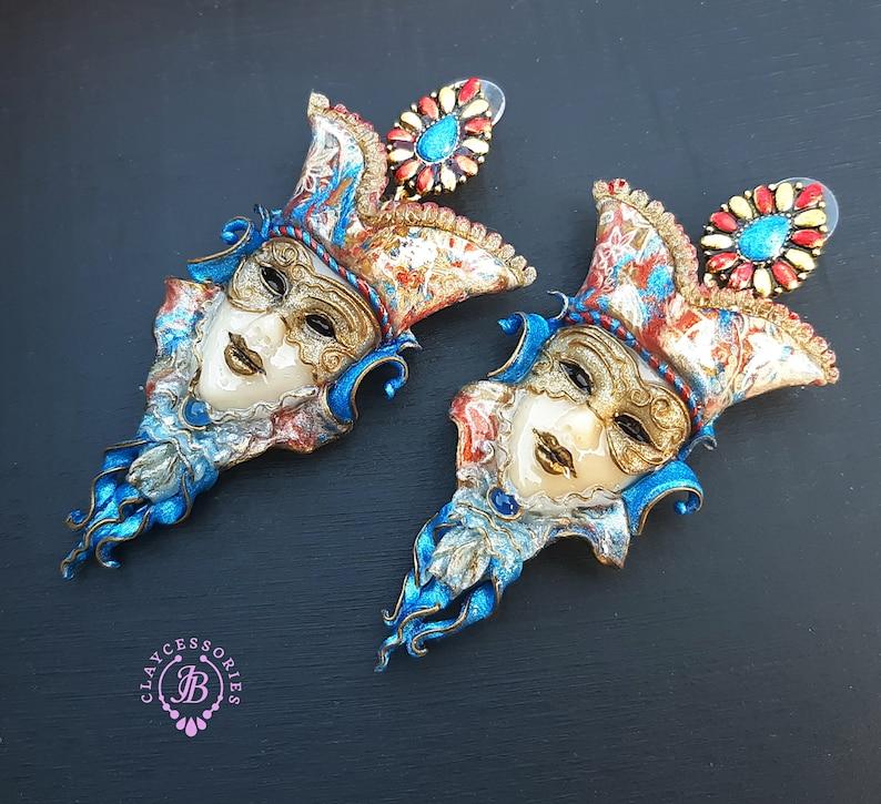 Venetian mask bohemian earrings image 1