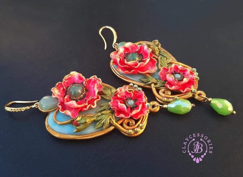 Poppy Art Nouveau earrings Vintage style statement earrings image 0