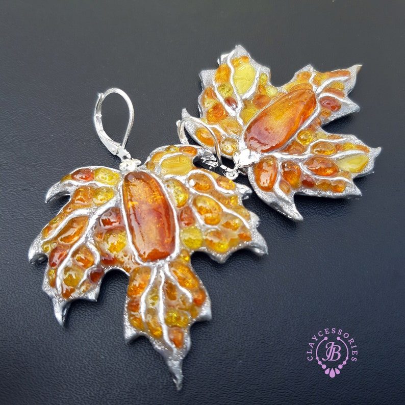 Maple Autumn  leaves shaped earrings Amber silver Leaf image 0