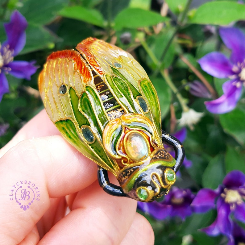 Cicada brooch Art Nouveau style Cicada pin Statement Insect image 0