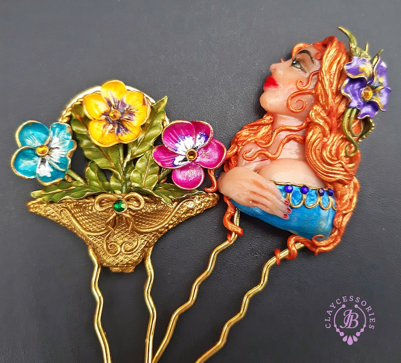 Pansies comb clips in Art Nouveau style Flowers Hair image 0