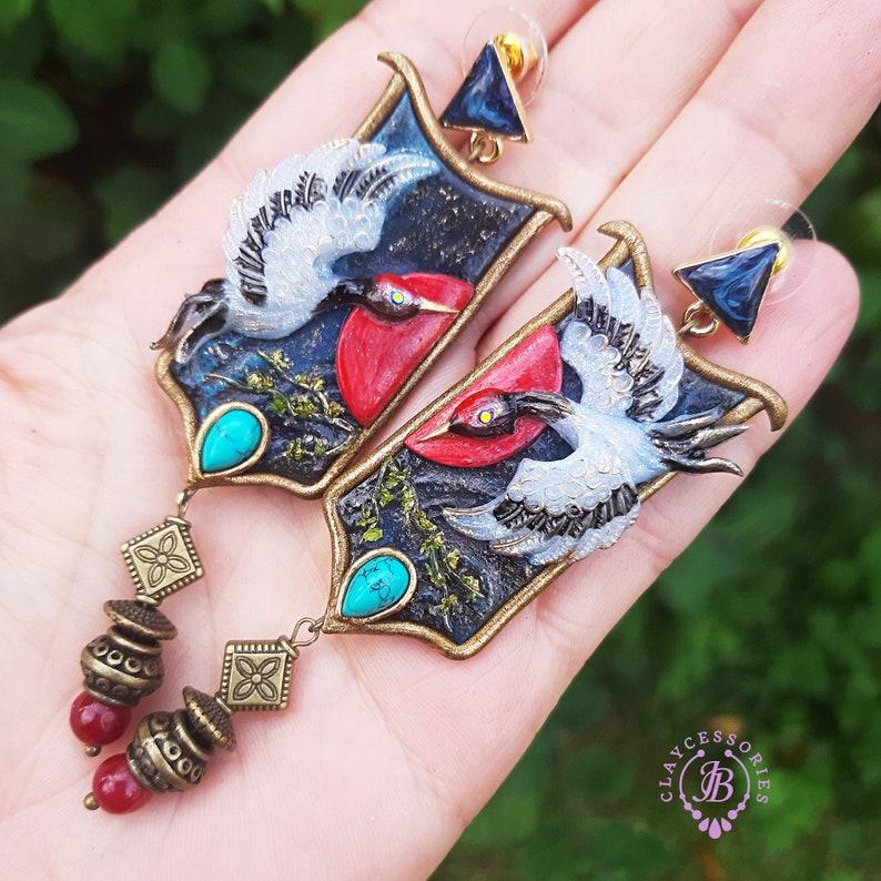 Crane Japanese oriental earrings Heron statement earrings image 0