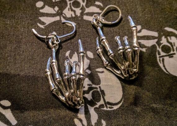 Skelett Rock Zeichen Ohrringe Skelton Hand Hebel wieder Haken