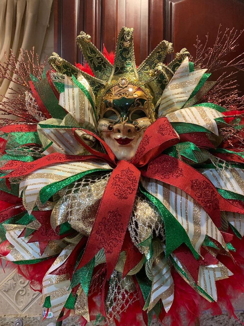 Mardi Gras Door Wreath Jester Red Green and Gold Venetian