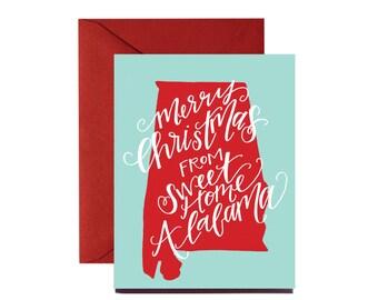 Merry Christmas from Sweet Home Alabama Christmas Card, Blank Inside, Southern Christmas Card