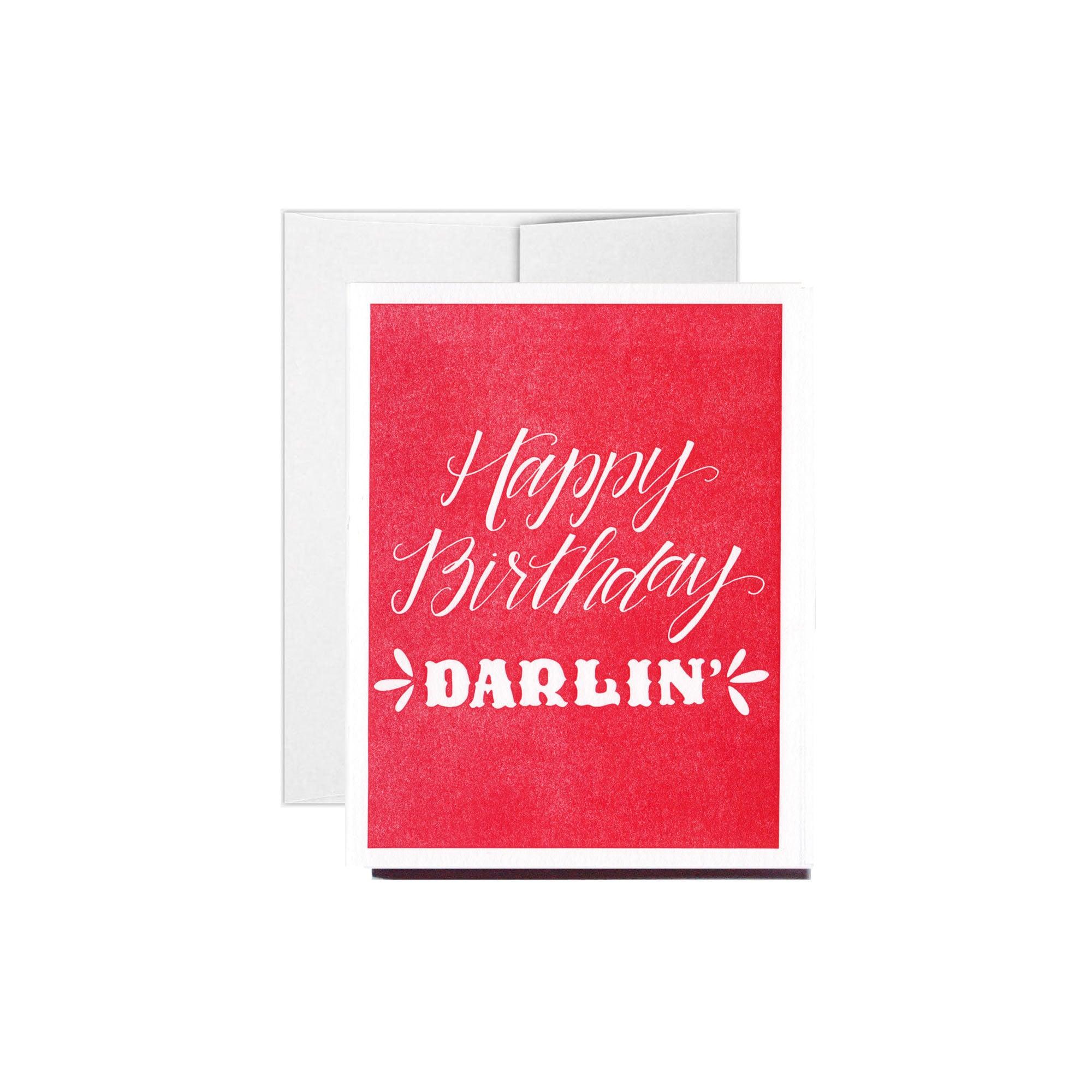 Letterpress Happy Birthday Darlin' Birthday Card