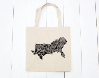 The South Tote Bag, Canvas Tote, Reusable Bag, Farmer's Market Bag, Screen Printed Tote