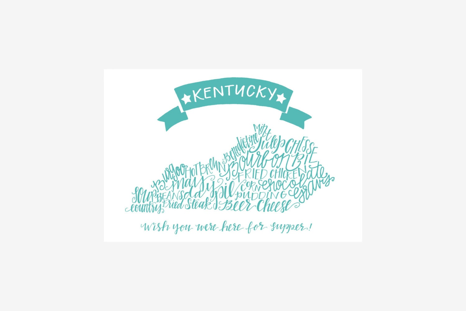 Kentucky Postcard, Southern Foods, Wish you were here for supper!, Aqua  postcard