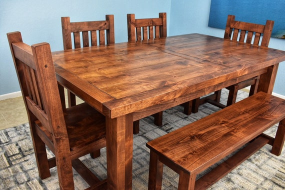 Solid Wood Dining Table Large Dining Table Alder Wood Dark Etsy