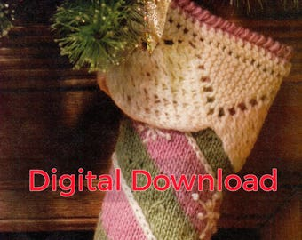 Knit Christmas Stocking Pattern, Vintage Diagonal Striped Sock, Snowflake, Cuffed, Holiday Decorating, PDF Instant, Digital Download