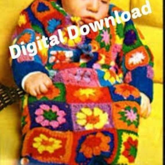 Granny Square Baby Bunting Vintage Afghan Blanket Crochet Etsy