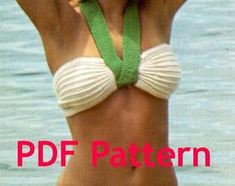 Vintage Tube Bikini Swimsuit Knit Pattern includes 3 sizes