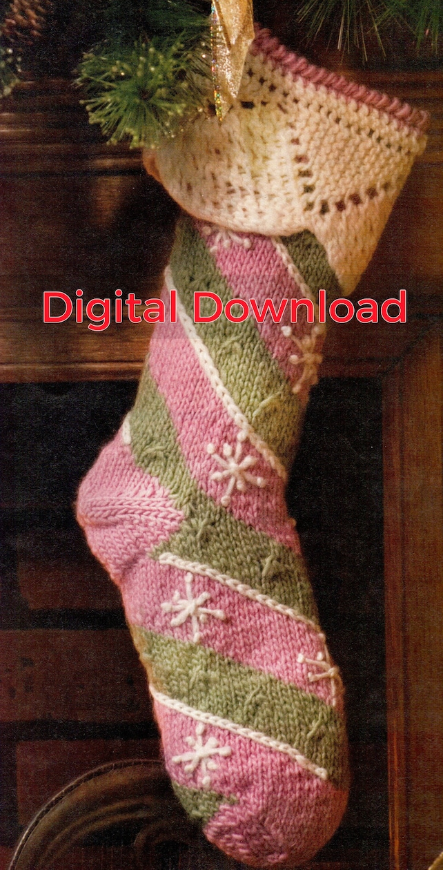 Knit Christmas Stocking Pattern Vintage Diagonal Striped | Etsy