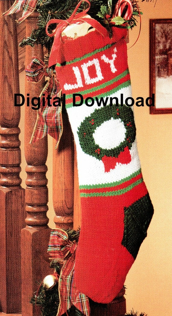 Christmas Stocking Knit Pattern Vintage Christmas Wreath Etsy